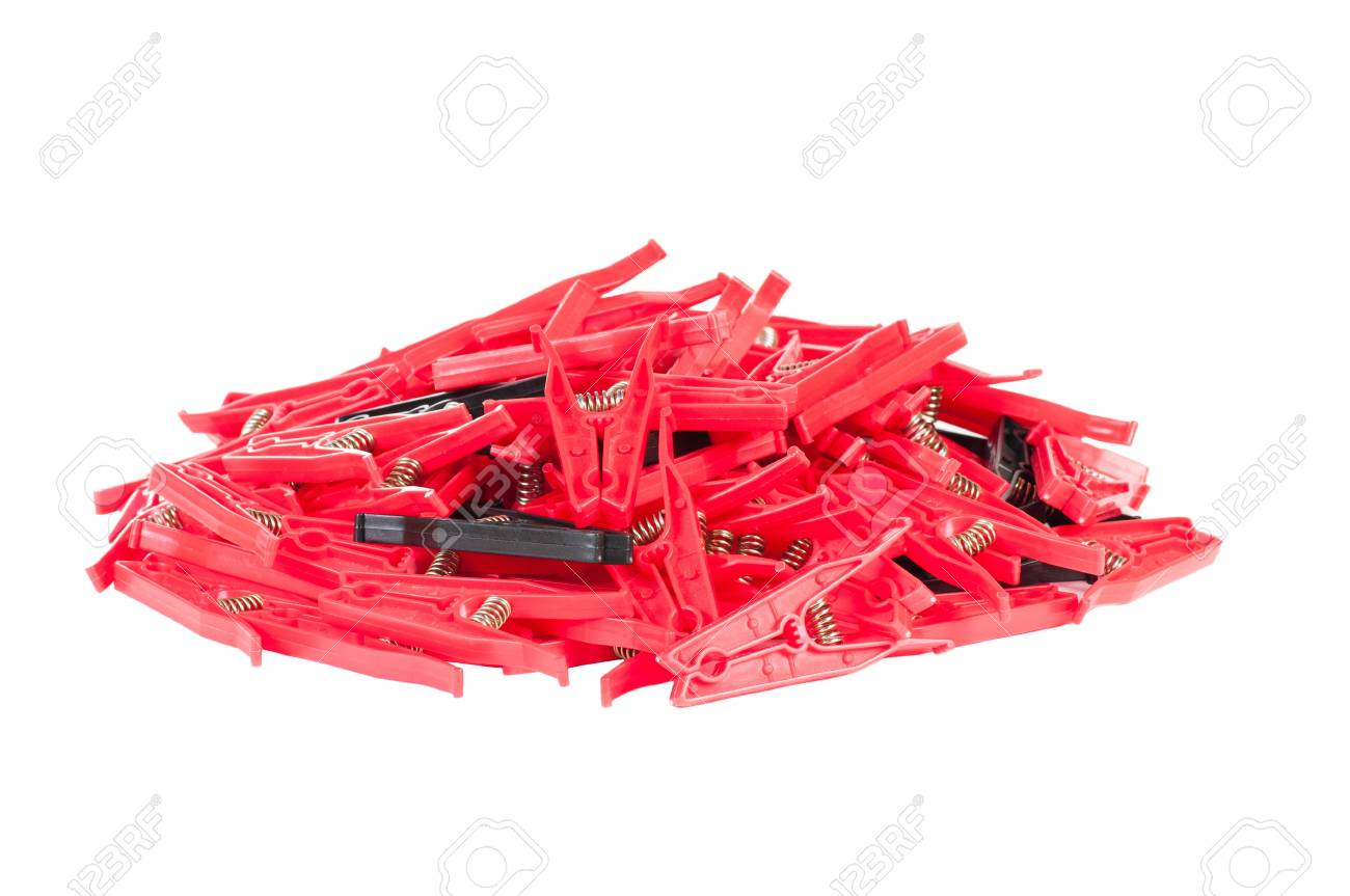 Clothes pegs on white background Stock Photo - 16556772