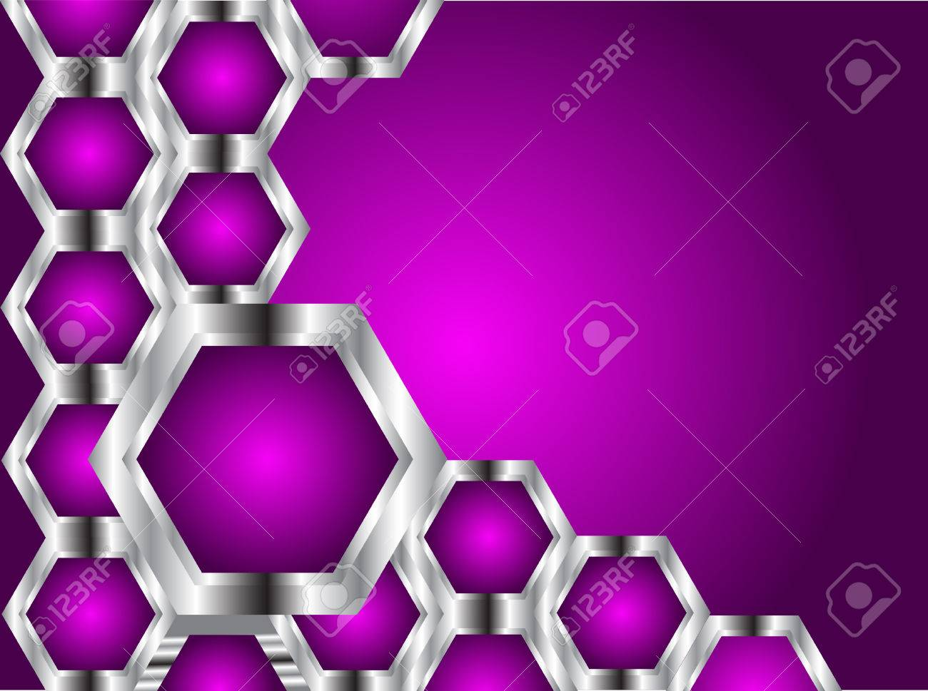 A Purple And Silver Business Card Or Background Template With Hexagons On Black Base