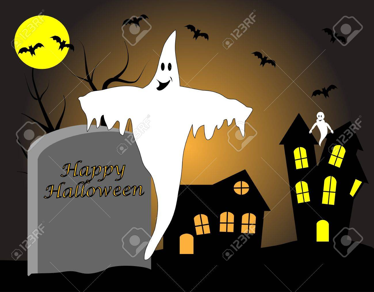 A halloween illustration with a haunted house and ghosts Stock Vector - 7006169
