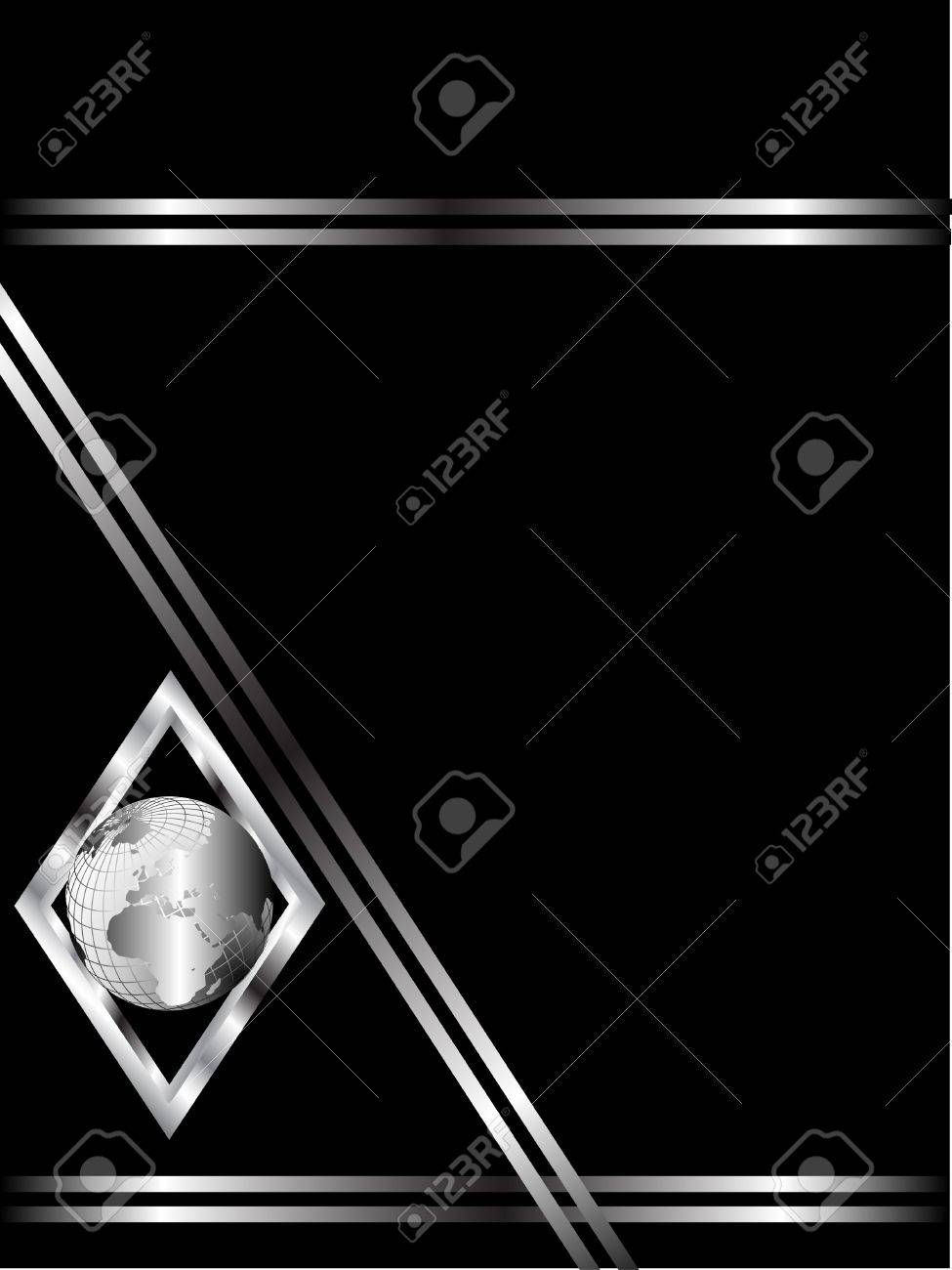 A black and Silver Business card or Background Template with a silver globe in a diamond Stock Vector - 7006245