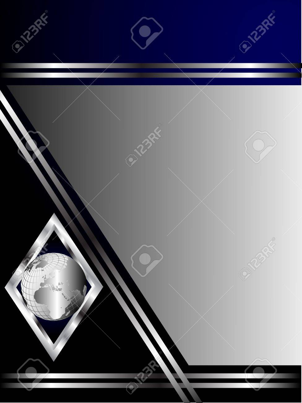 A deep blue and silver business card or background template a deep blue and silver business card or background template with a silver globe in a magicingreecefo Images