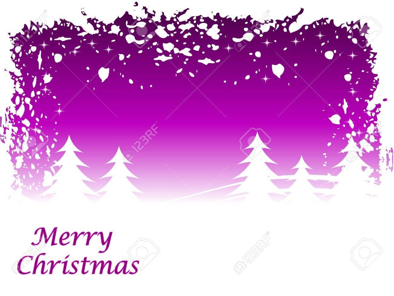 Abstract  grunge winter scene with a mauve background and snowy christmas trees. Stock Vector - 8345108