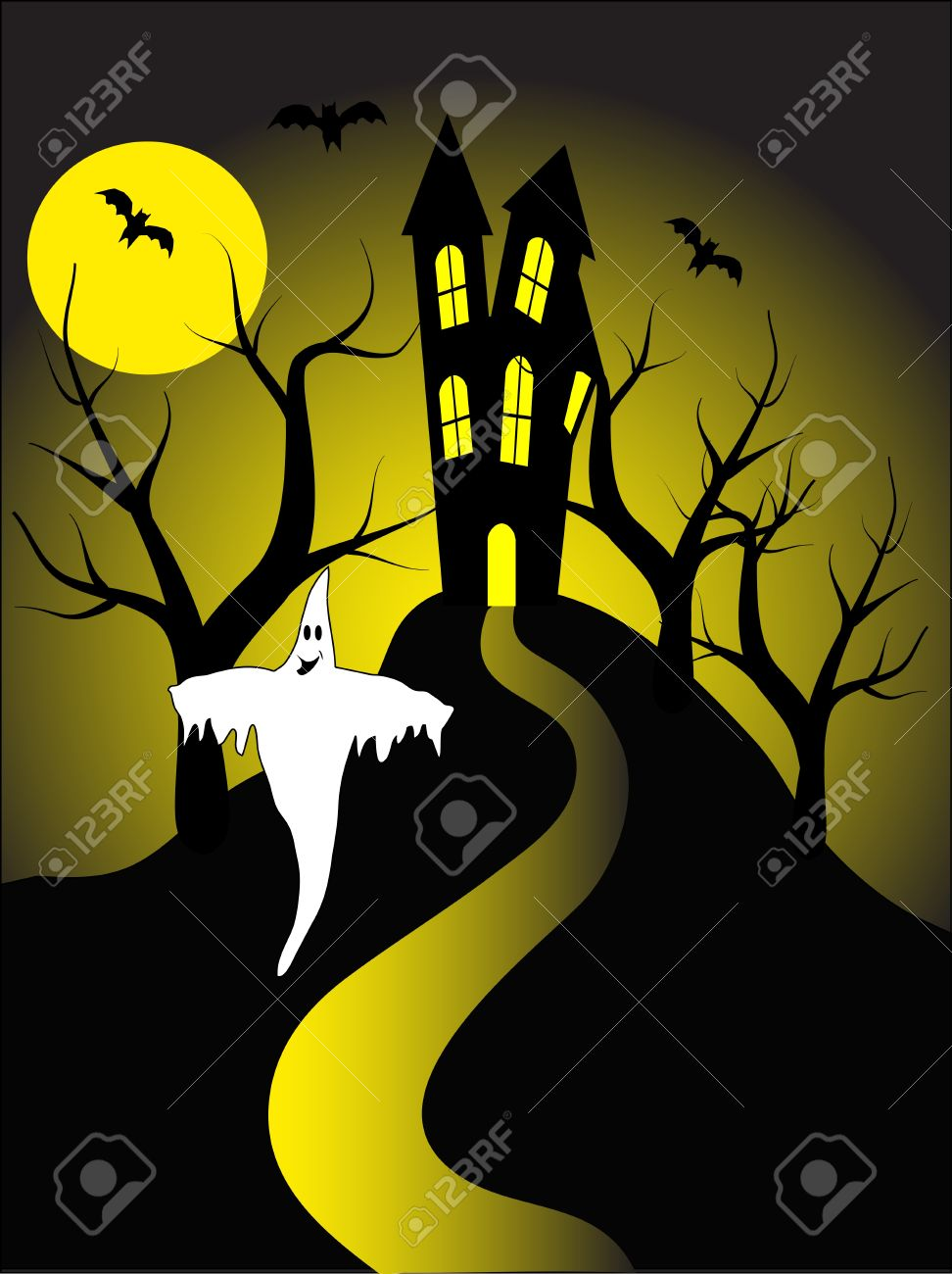 A halloween illustration with a ghost  in front of a haunted house Stock Vector - 8345365