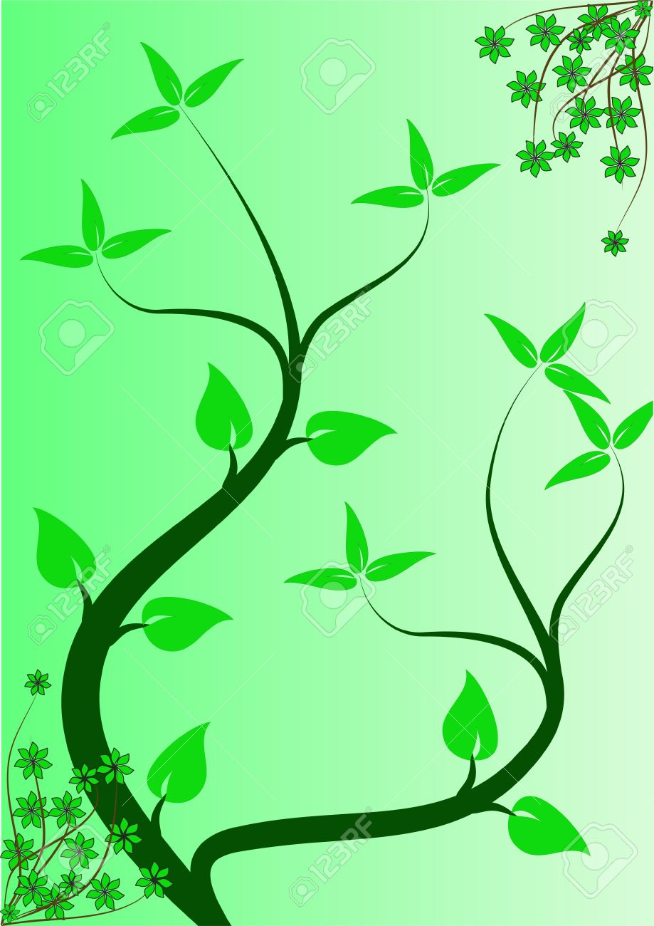 An abstract floral background ilustration with winding vines on a lighter green graduated backdrop Stock Vector - 8395126
