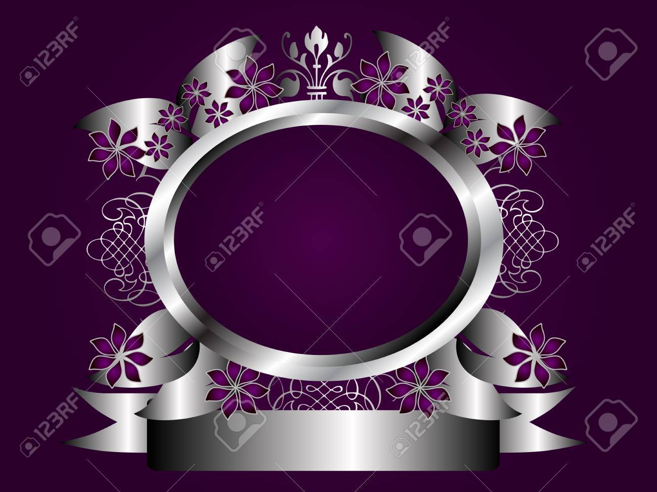 A silver floral design with room for text on a rich deep purple background Stock Vector - 8395438