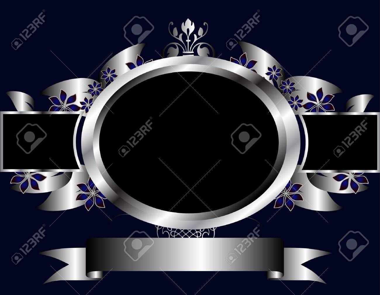 A silver floral design with room for text on a royal blue background Stock Vector - 8395429