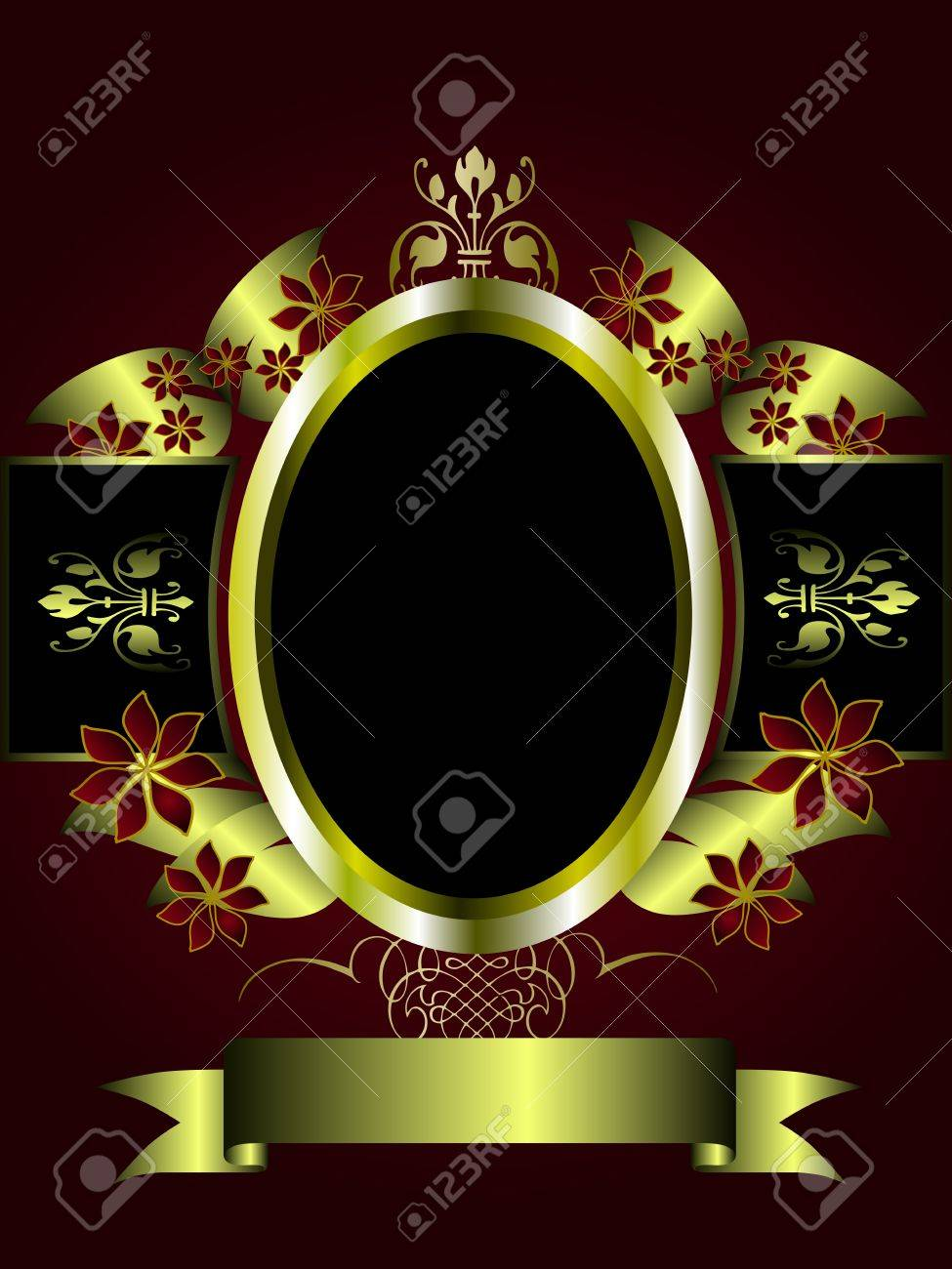 A gold floral design with room for text on a deep red  and black background Stock Vector - 8395333