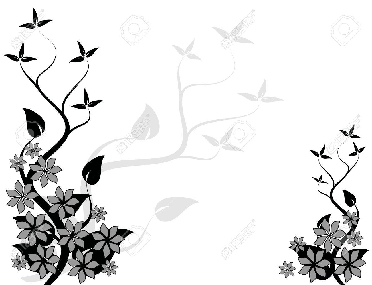 un résumé design floral noir et blanc avec un arbre stylisé sur la banque d images un résumé design floral noir et blanc avec un arbre stylisé sur la gauche avec la salle pour le texte