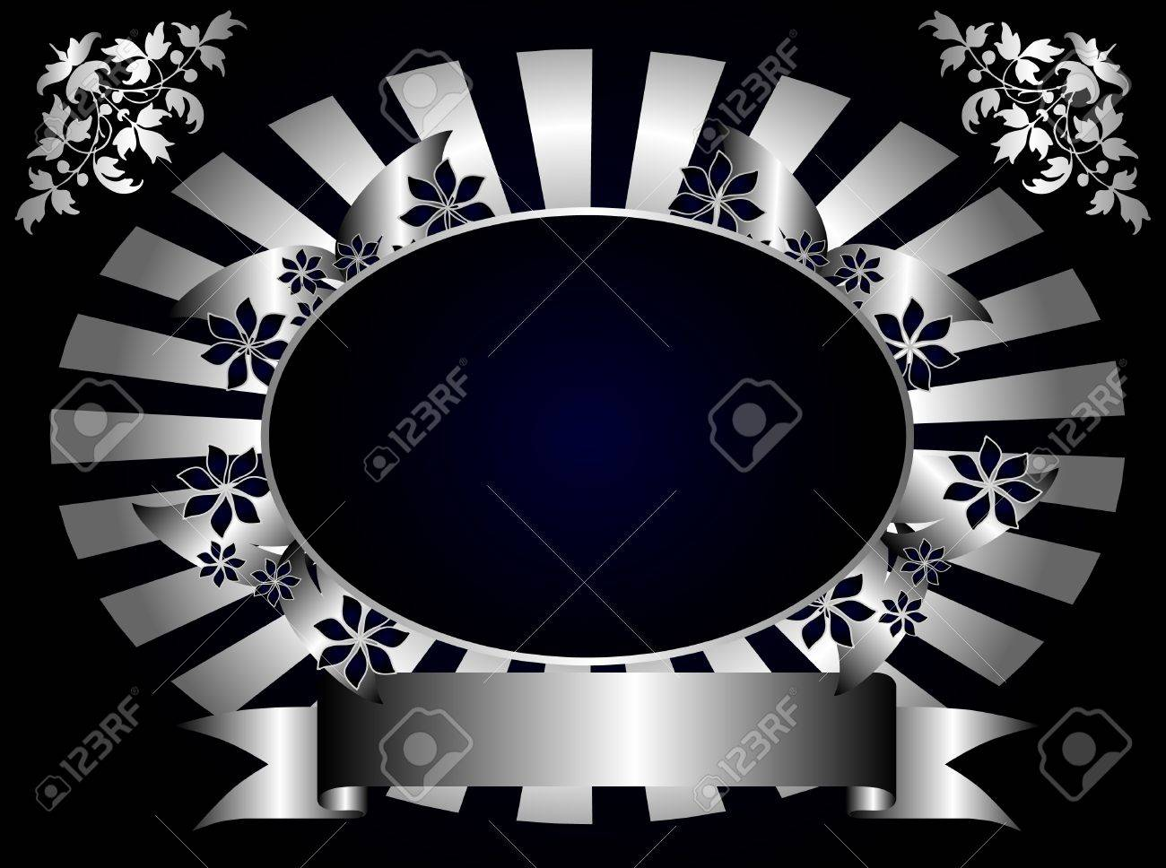 A gold floral fan effect design with room for text on a royal blue background Stock Vector - 8420682