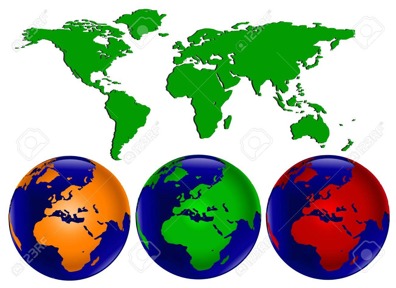 Vector illustration with three different coloured world globes vector vector illustration with three different coloured world globes with europe and africa facing forward and a map of the world which can be separated gumiabroncs Choice Image