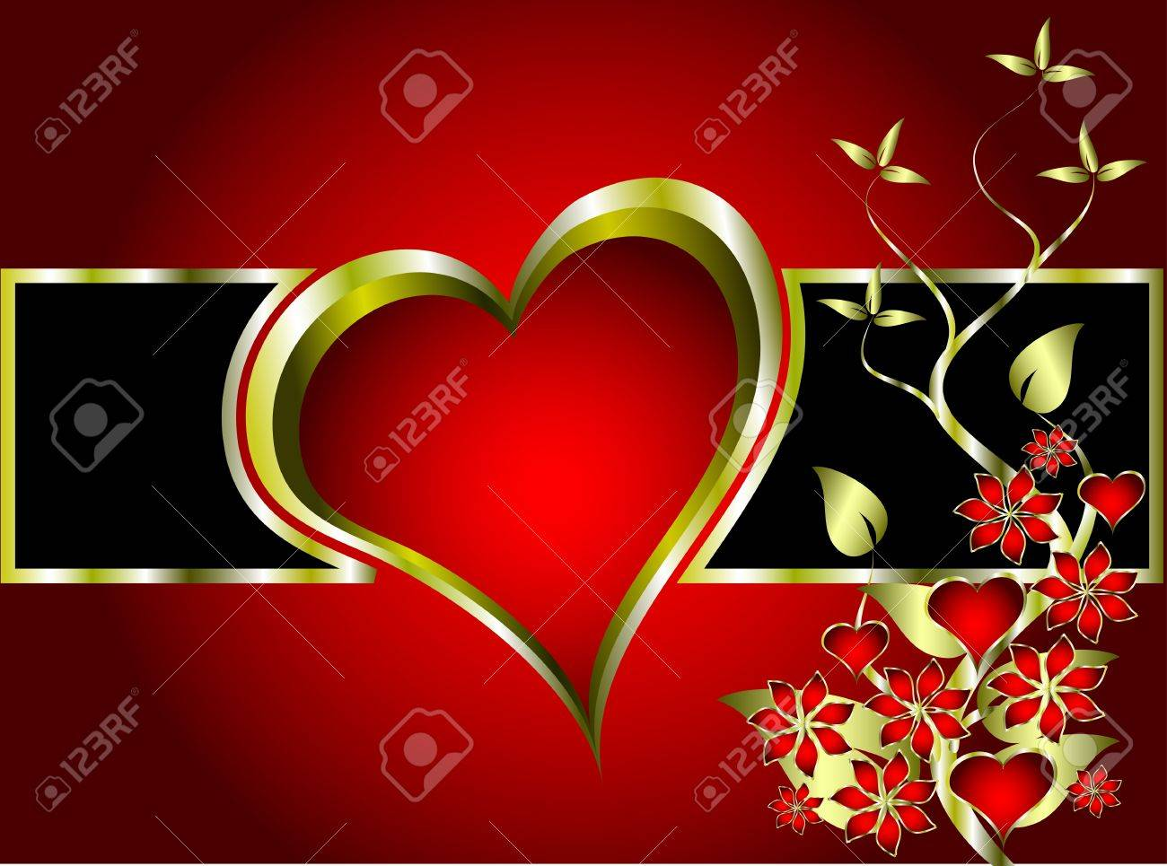 A valentines background with a series of  gold hearts on a deep red backdrop and a large central heart with room for text Stock Vector - 8596600