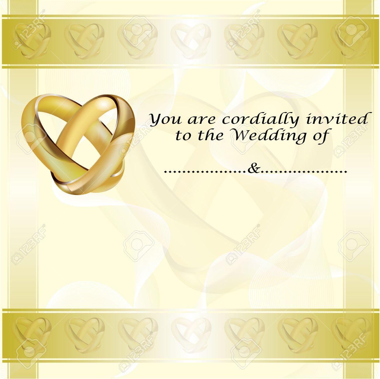 Une carte dinvitation de mariage avec des anneaux dor entrelacs banque dimages une carte dinvitation de mariage avec des anneaux dor entrelacs et pice pour le texte stopboris Image collections