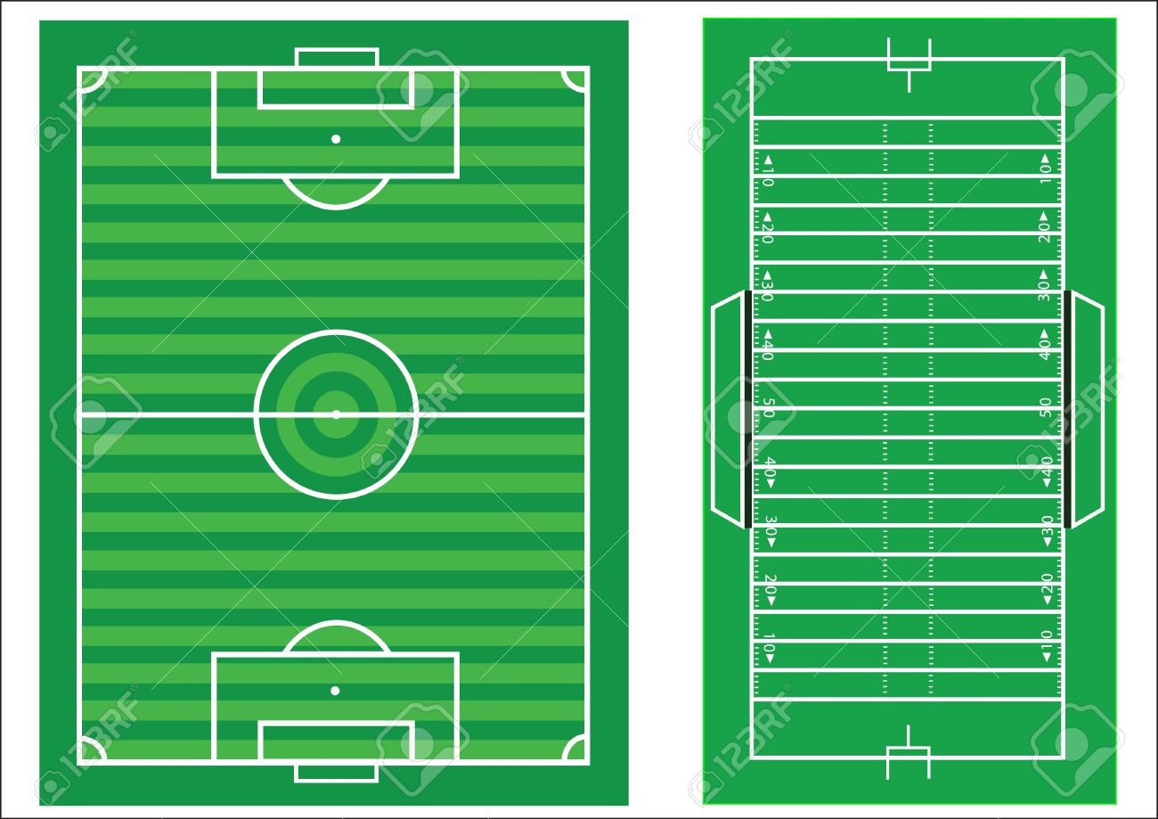 Scale diagrams of a soccer pitch and an American football field,