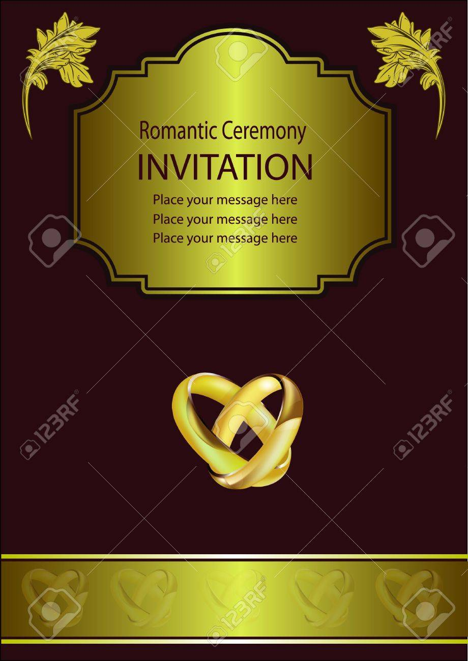A wedding invitation card with intertwined gold rings and room a wedding invitation card with intertwined gold rings and room for text stock vector 10253686 stopboris Images