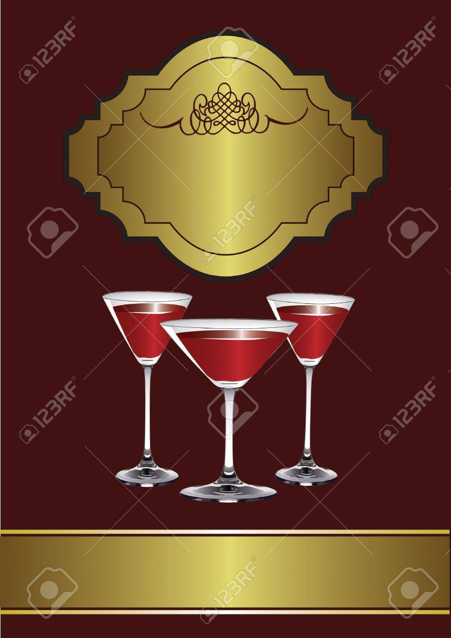 A Drinks Menu Template with drinks glasses on a maroon and gold background Stock Vector - 10341724