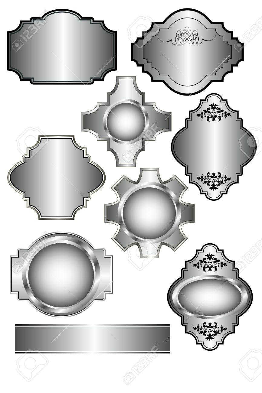 Set Aus Silber Etiketten, Welche Auf Menü-Vorlagen Verwendet Werden ...