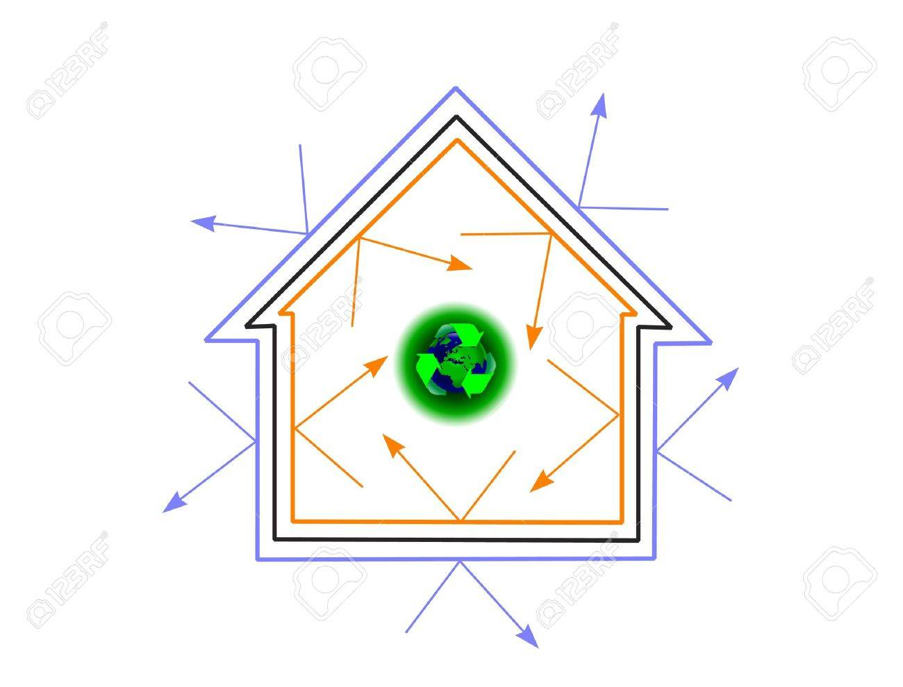 An energy efficiency concept house showing how energy efficiency can protect the planet Stock Vector - 10752227