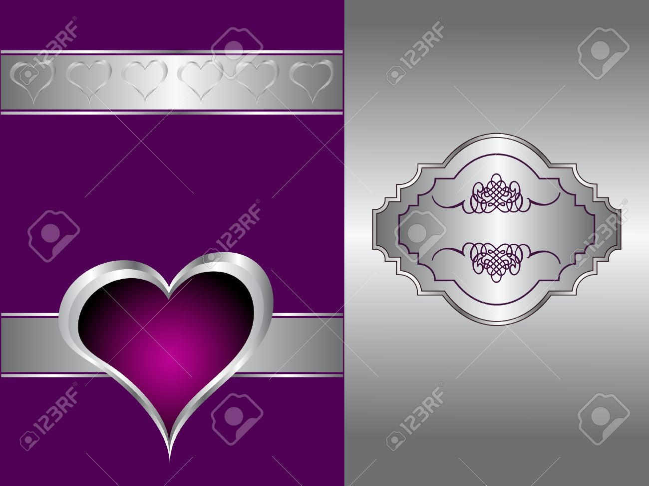 A purple hearts Valentines Day Background with gold hearts and flowers on a black background Stock Vector - 10960527