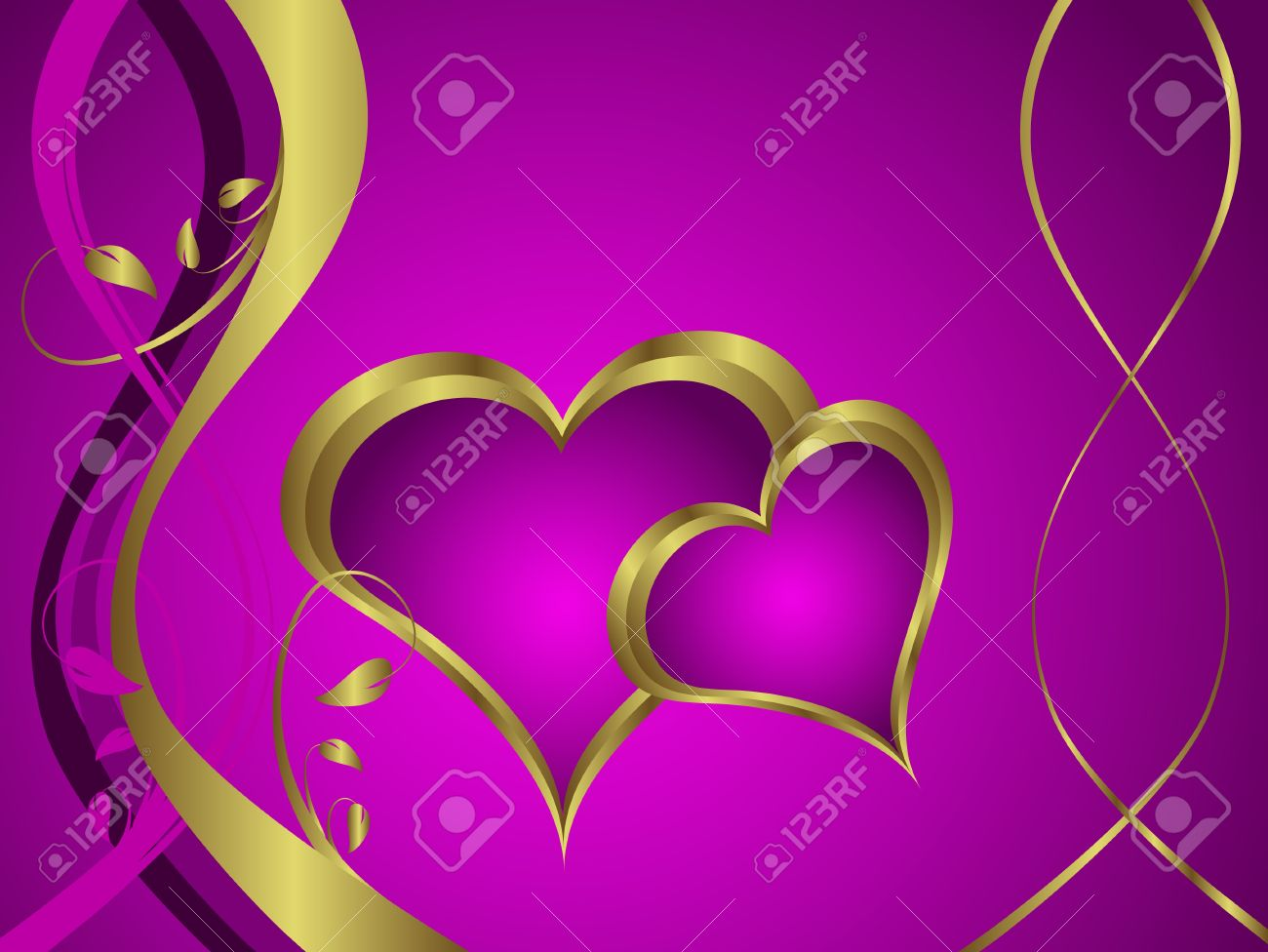 A purple hearts valentines day background with gold hearts on a purple hearts valentines day background with gold hearts on a purple and gold background stock buycottarizona
