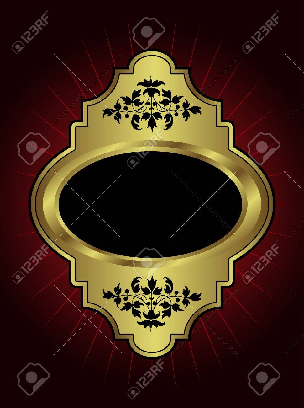 An ornate gold  plaque with room for text on a maroon highlighted background Stock Vector - 13708053