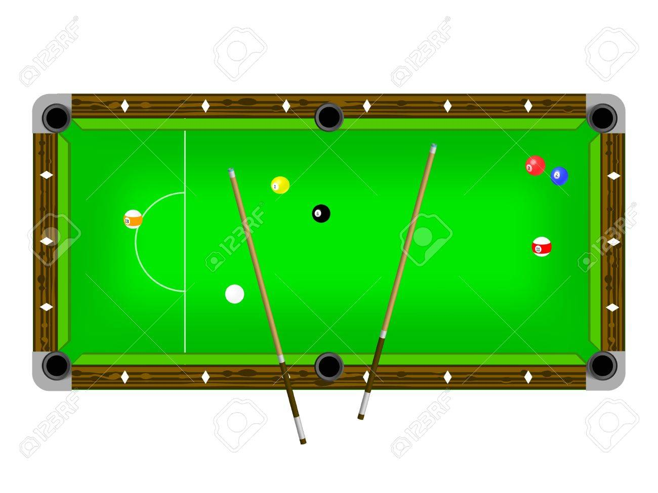 Illustration Of A Pool Table With Cues And Pool Balls Isolated On White  Stock Vector