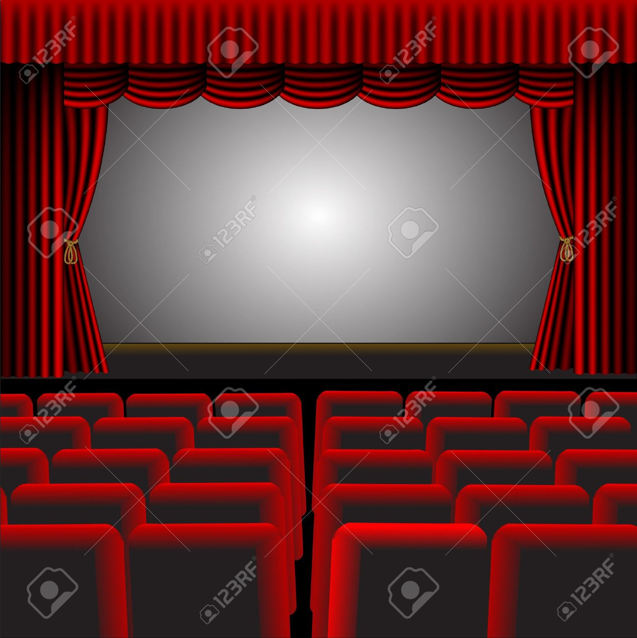 A illustration of a cinema or theatre with red upholstery and fittings, with a screen and room for text Stock Vector - 16822454