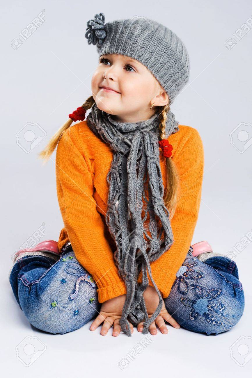 cute fashionable girl in warm clothes stock photo picture and