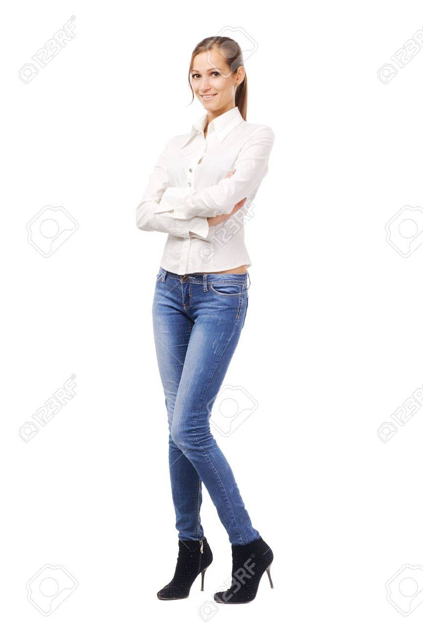 Lovely Woman In White Shirt And Blue Jeans, Isolated On White ...