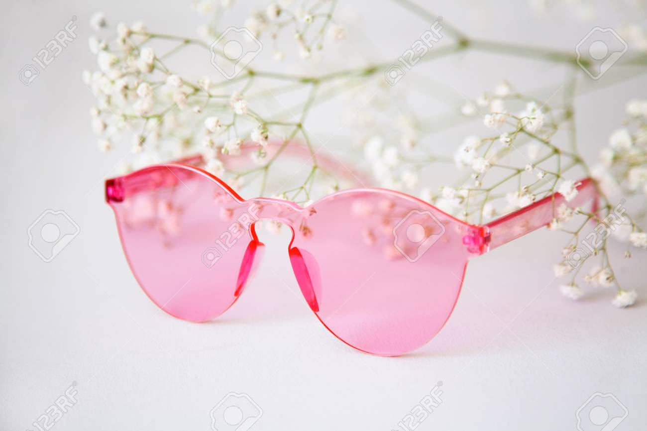 975781176843 Closeup picture of a bright pink rimless sunglasses Stock Photo - 102751416