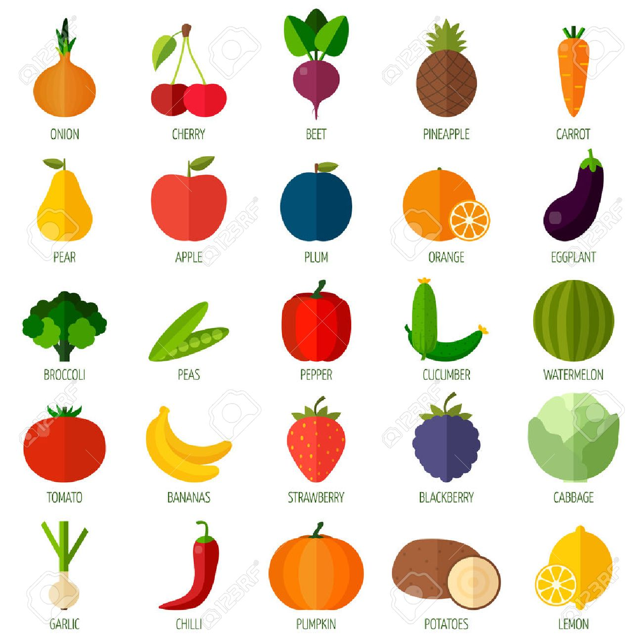 colorful flat fruits and vegetables icons set template for cooking