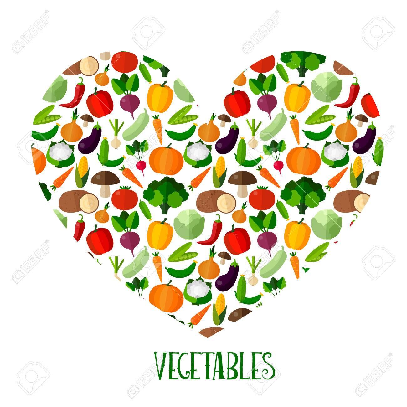 Gemüse Hintergrund Mit Herz In Flachen Stil. Bunte Schablone Für Das ...