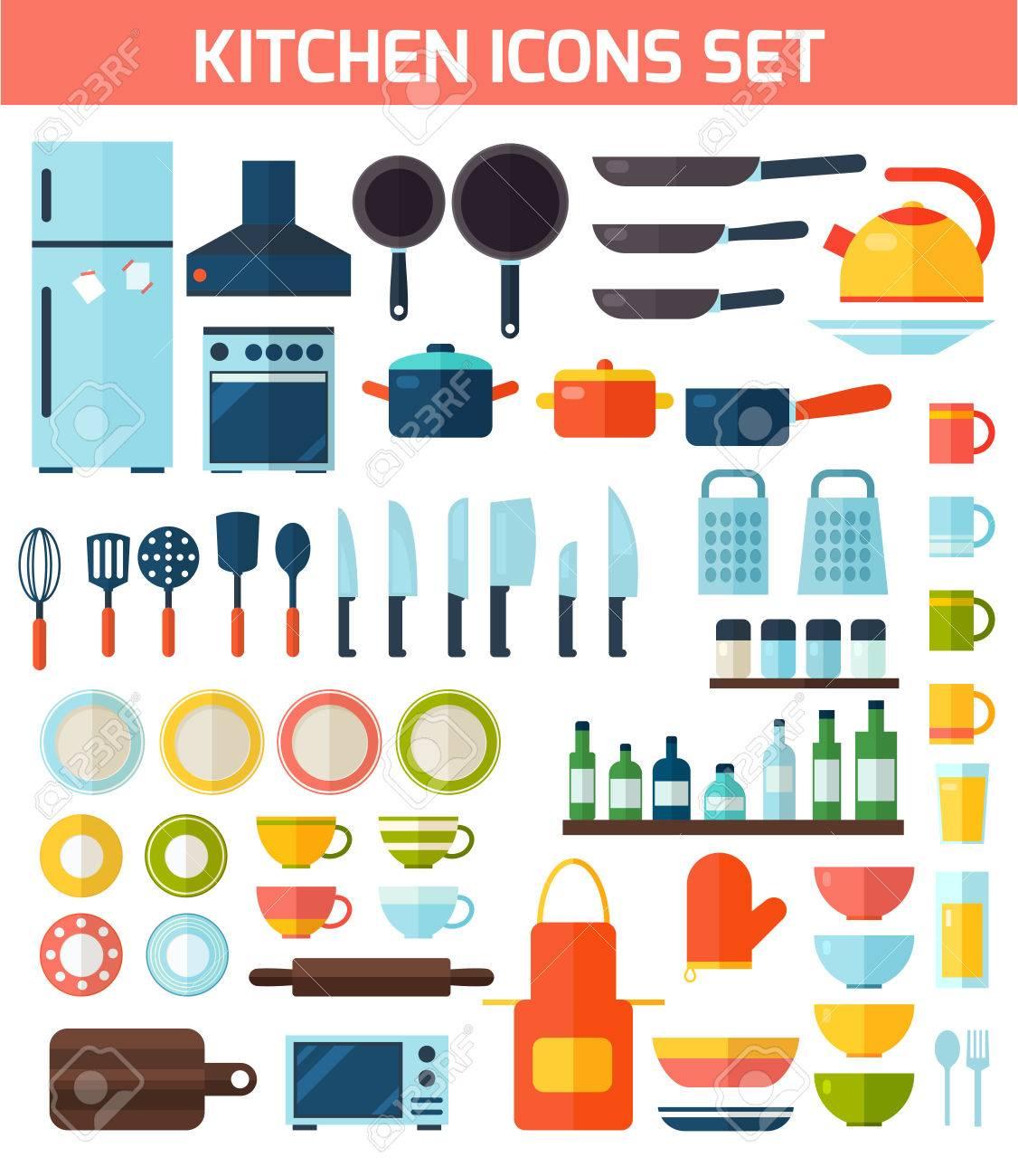 Herramientas De Cocina Y Equipo De Cocina Colección De Símbolos ...
