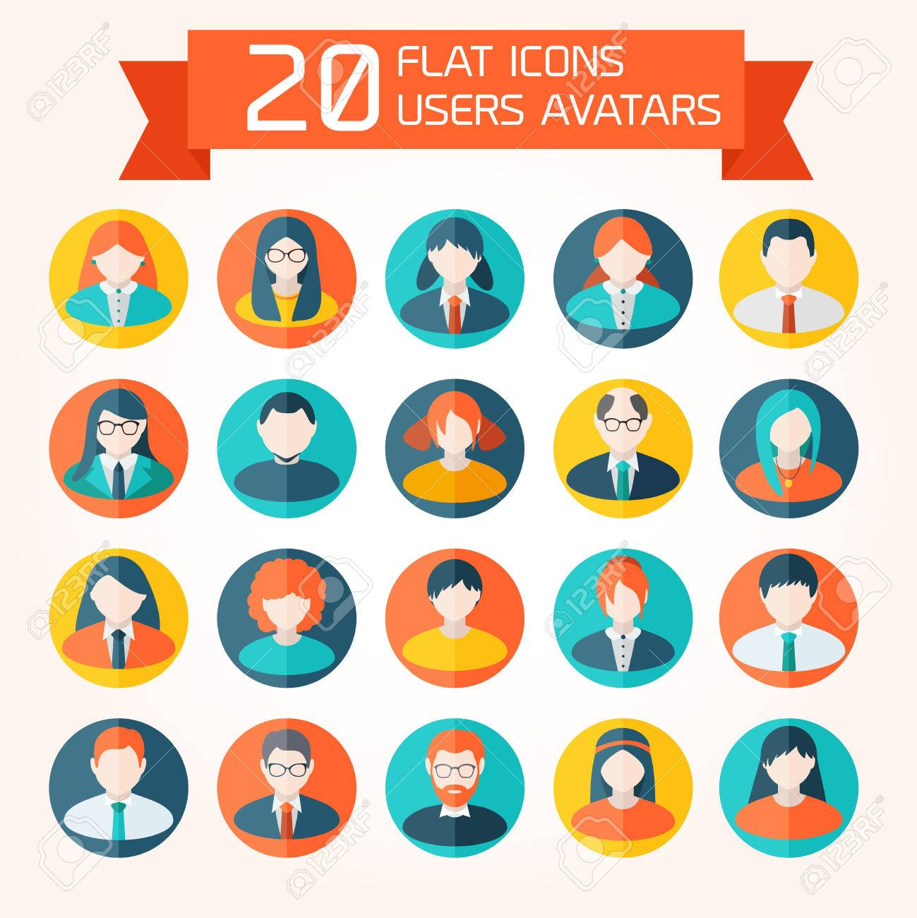 flat user avatar icons set without background royalty free cliparts