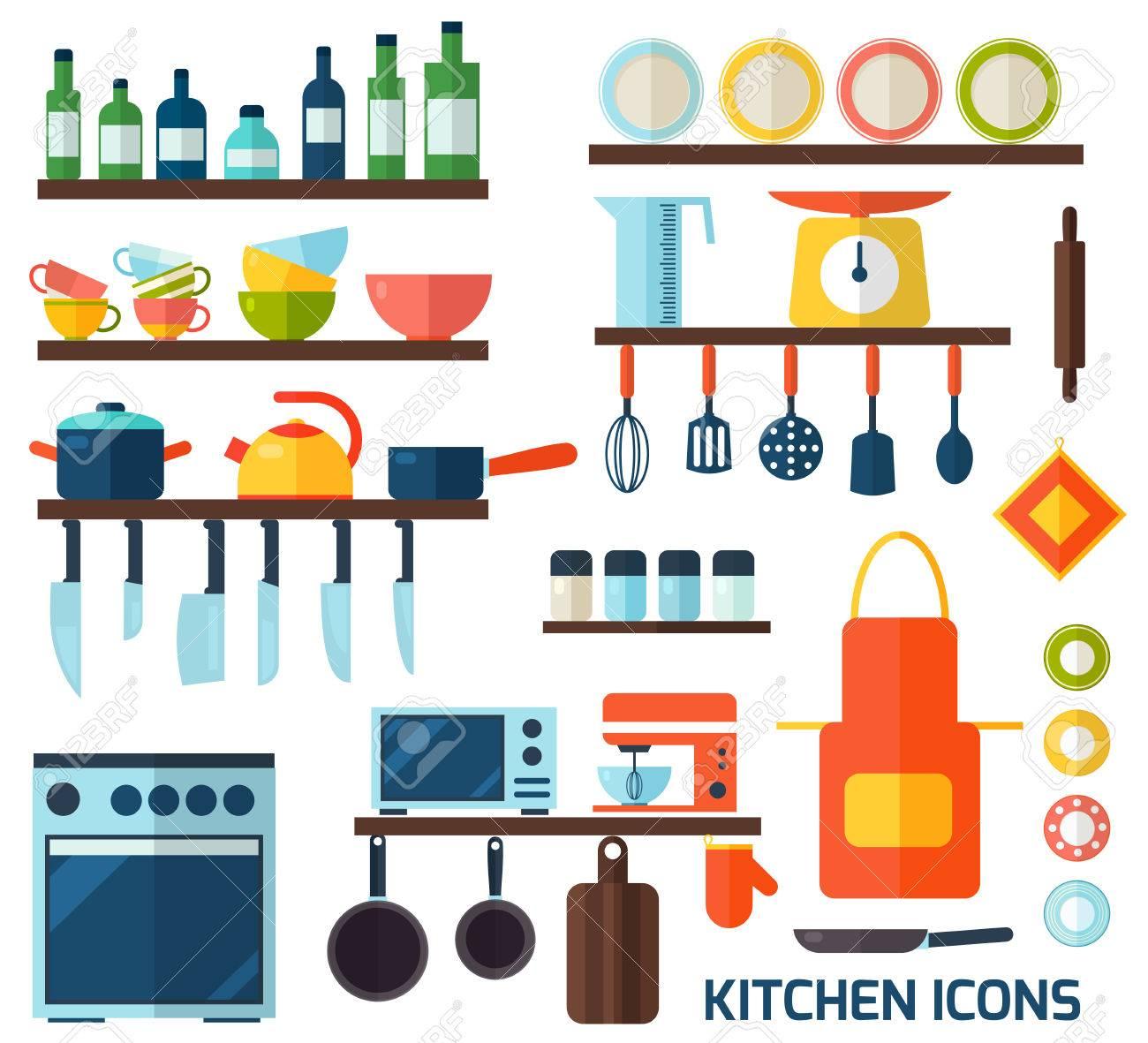 Kochen Werkzeuge Und Küchengeräte Symbolsammlung. Bunte Vorlage Zum ...