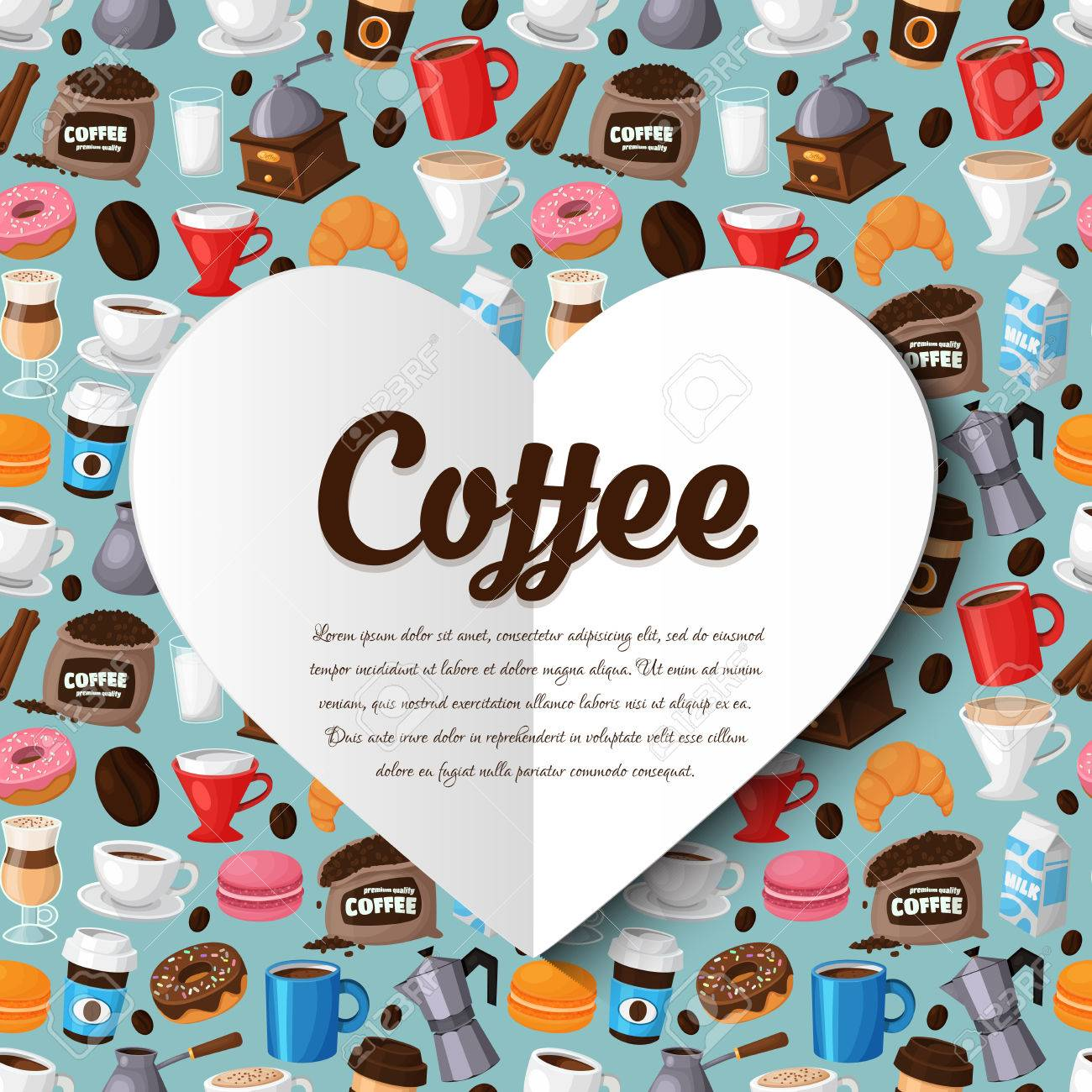 Modern Icons For Coffee Shop And Coffee House. Colorful Template ...