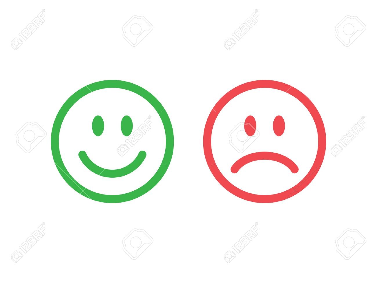 Set of smile emoticons. Line icons emoticons. Happy and unhappy smileys. Green and red color. Vector illustration - 55096578