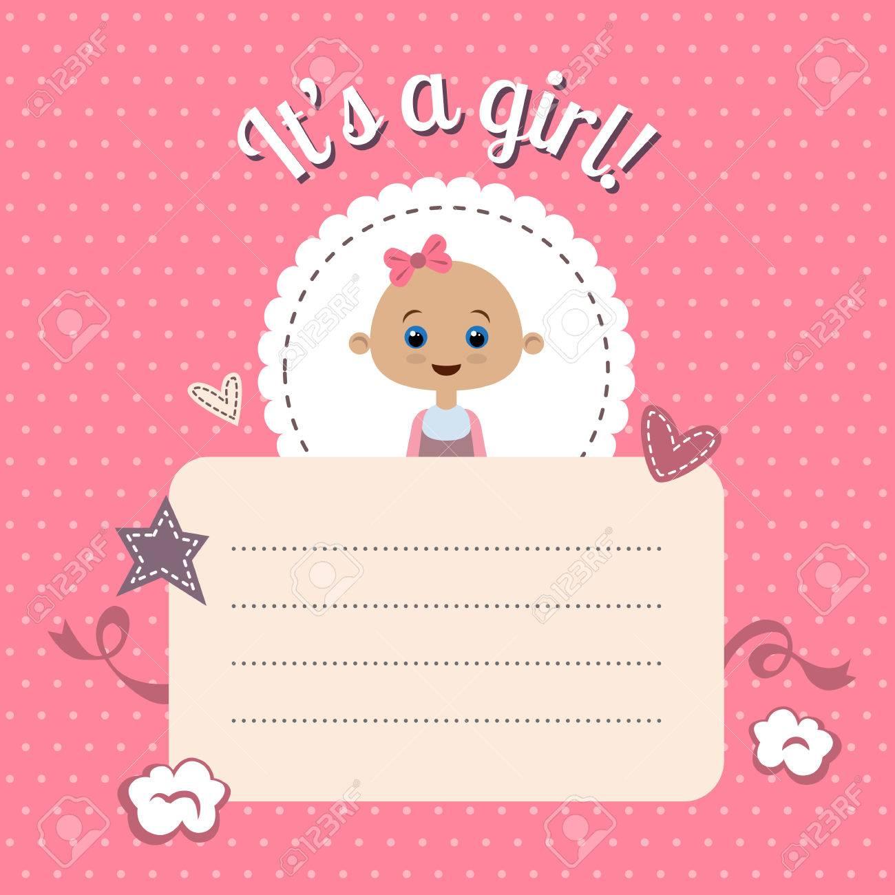 Invitación De La Ducha Del Bebé Linda Chica Nueva Tarjeta De Baby Shower Es Una Niña Vector Plantilla De Diseño Con Espacio Para El Texto