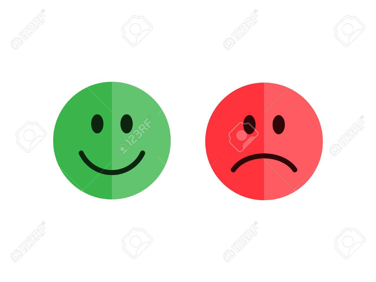 Set of emoticons isolated on a white background. Flat style emoticons. Happy and unhappy smileys. Green and red color. Flat style vector illustration - 55096765