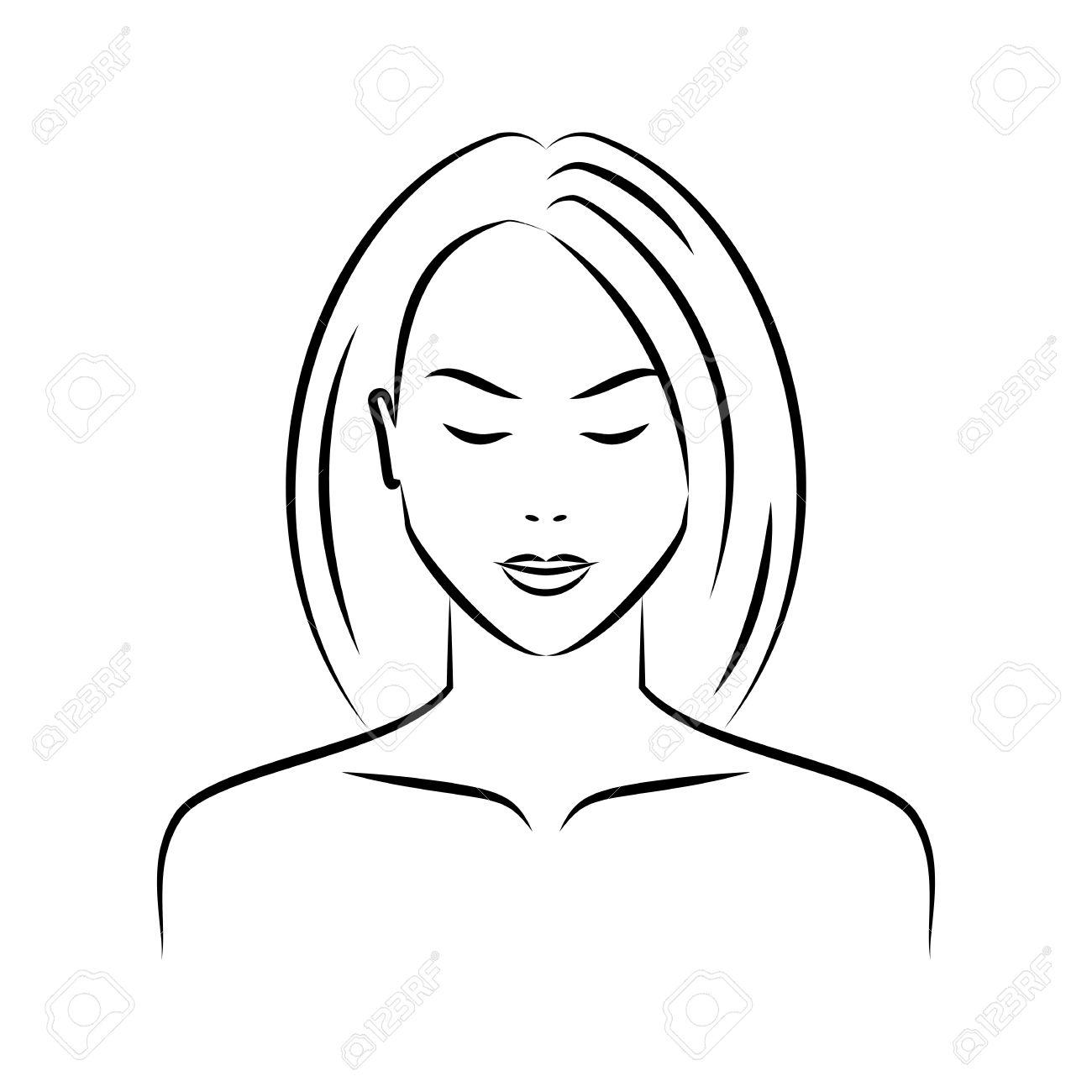 Les Femmes De Beauté Font Face Isolé Sur Un Fond Blanc Dessin Visage Féminin