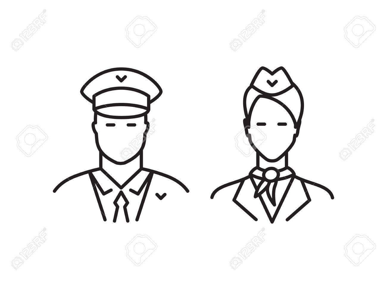 Piloto Y La Azafata De La Línea De Iconos Aislados En Un Fondo