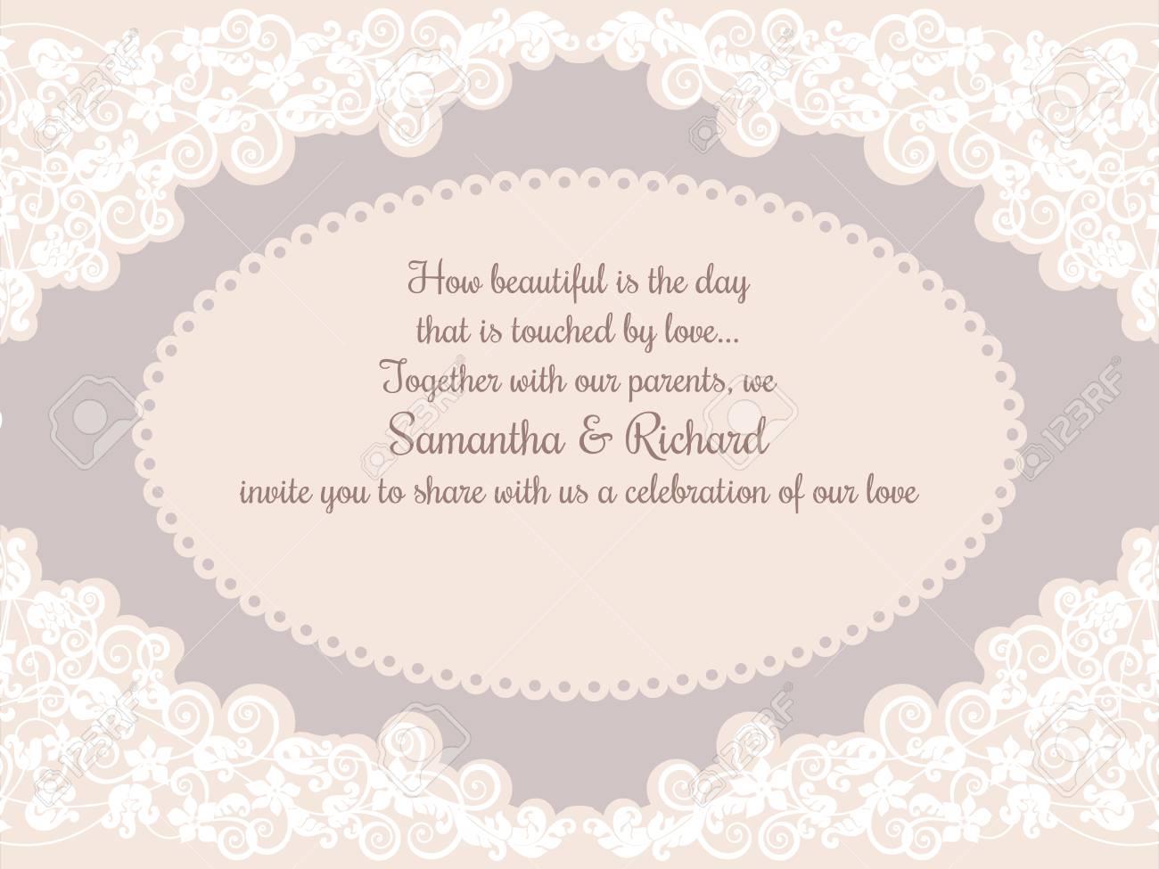 Einladung Hochzeit Karte Mit Schönen Weißen Spitzen Dekorationen In Beige  Standard Bild   47115161