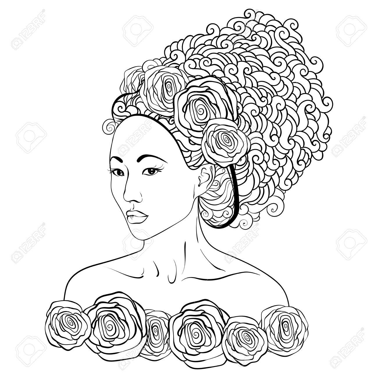 Illustration Stylisée D Une Fille De Geisha Fille Japonaise Le Style De Griffonnage Peut être Utilisé Comme Livre De Coloriage Adulte Coloriage