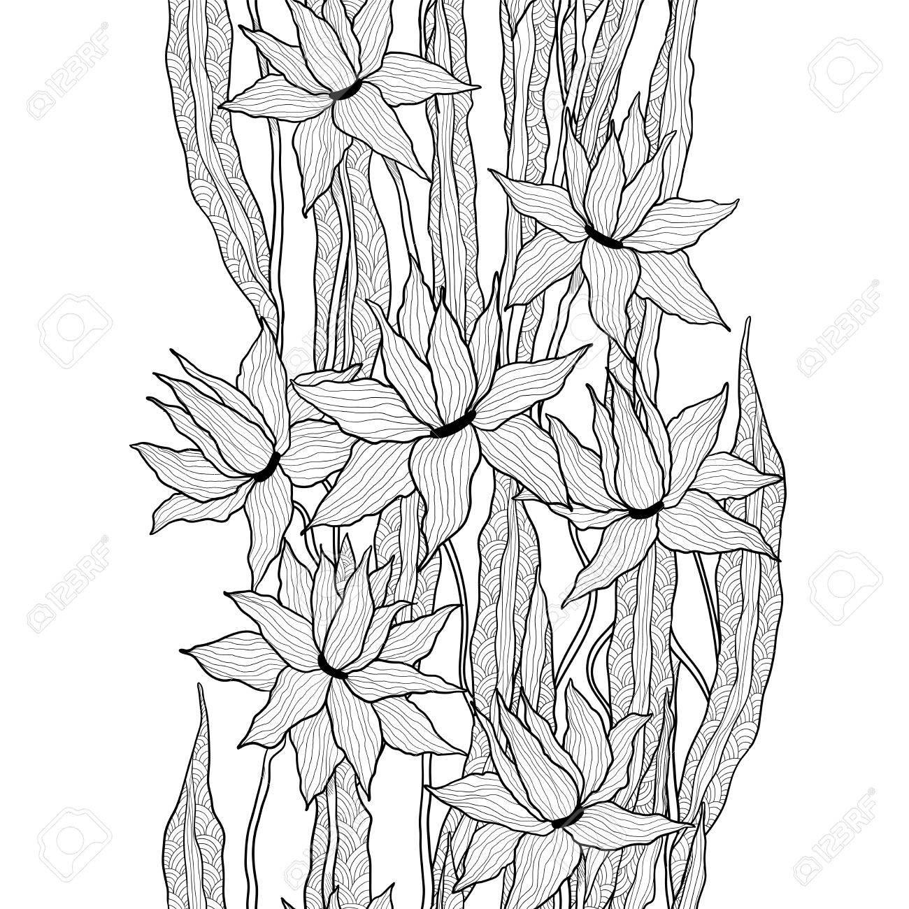 Patron Floral Vector Transparente Lirios Reales Flores Con Hojas De Bosquejo Estilizadas Graficos En Blanco Y Negro