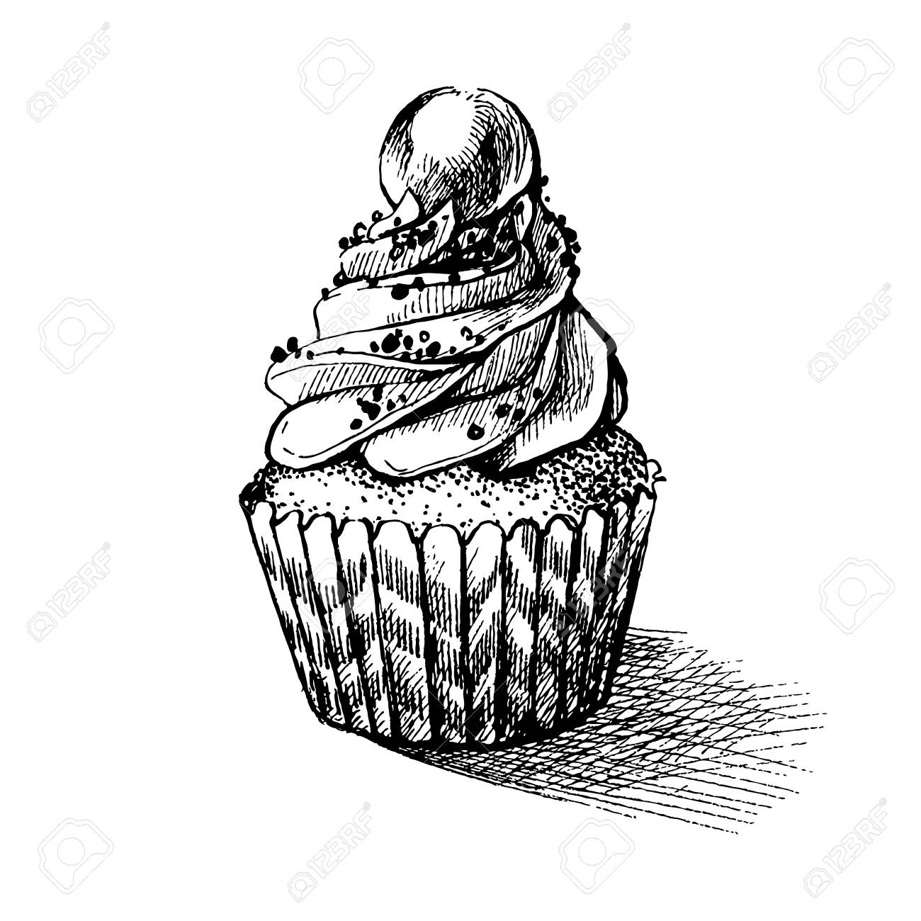 Vector Illustration Croquis Noir Et Blanc De Cupcake Sucré Cremy Mignon Peut être Utilisé Pour Des Cartes De Vux Ou Des Invitations à Des Fêtes
