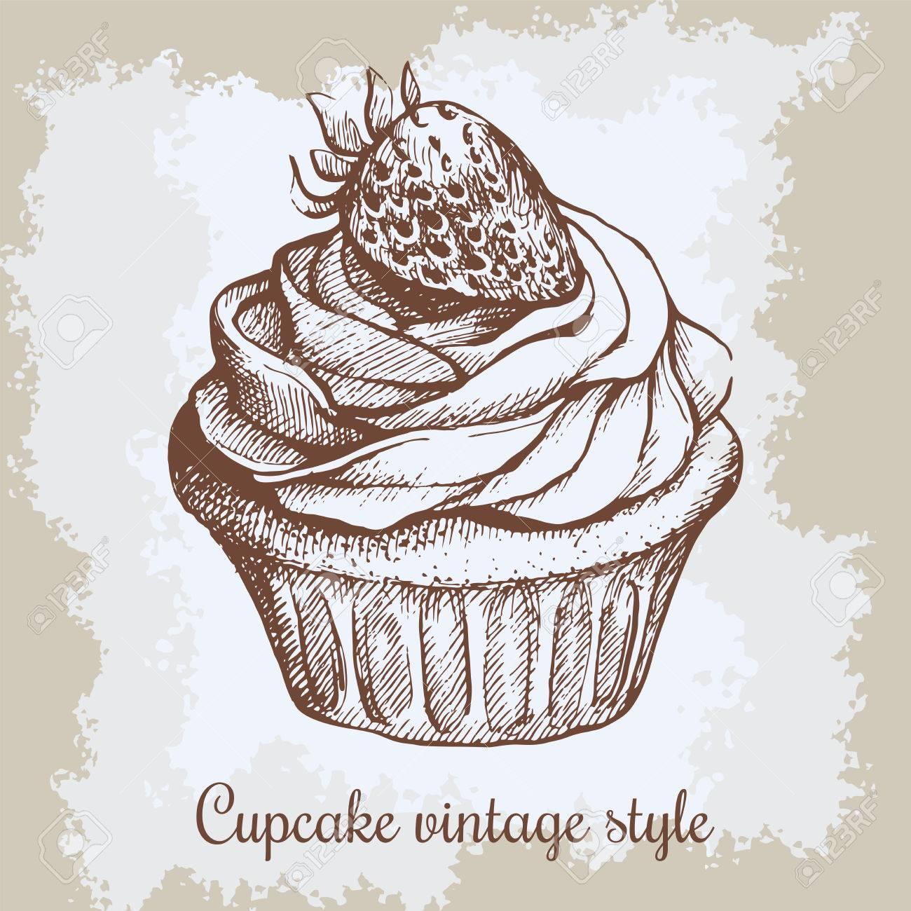 Fondo Vintage Dulce Cupcake Con Fresa. Puede Ser Utilizado Para ...