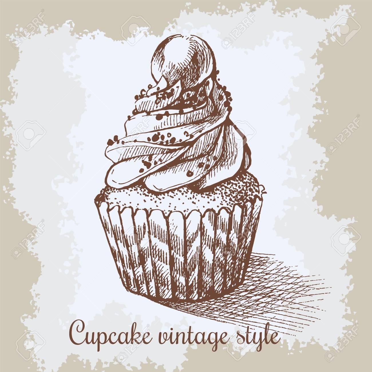 Fondo Vintage Dulce Cupcake Con Burbuja. Puede Ser Utilizado Para ...