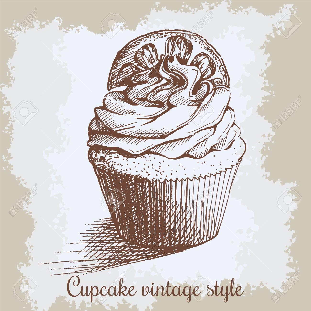 Fondo Vintage Dulce Cupcake Con Limón. Puede Ser Utilizado Para ...