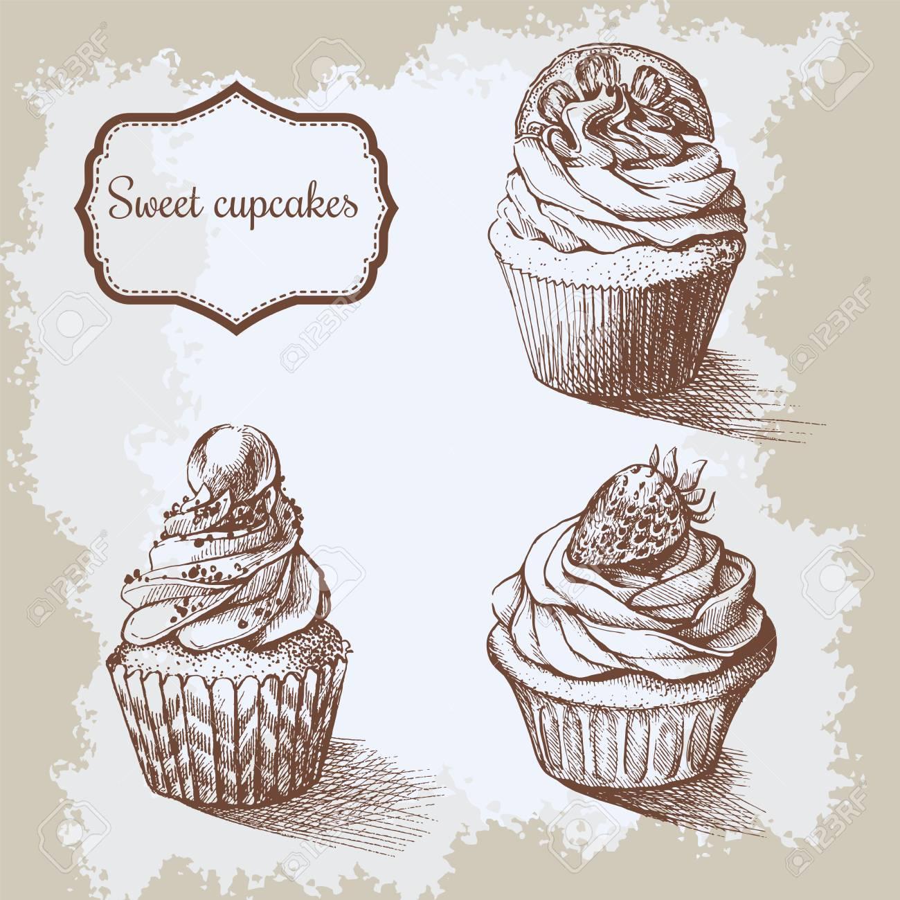 Fondo Vintage Dulces Cupcakes Con Limón. Fresa Y Perla. Establecer ...