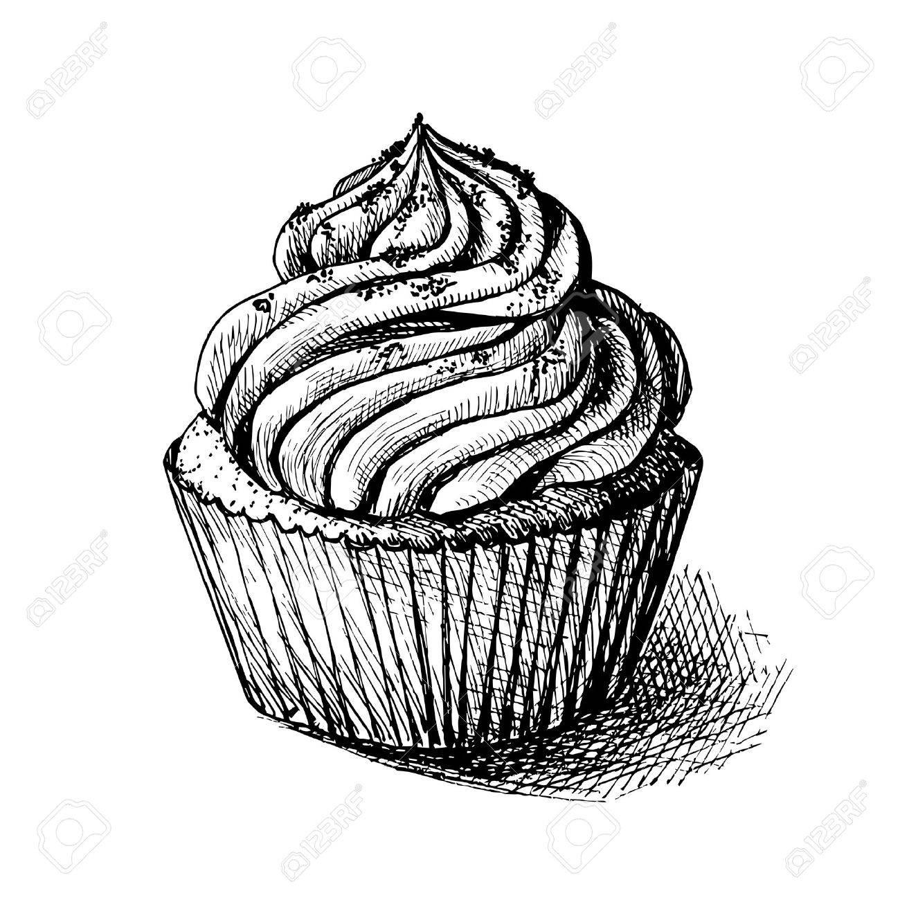 Vector Illustration Desquisse En Noir Et Blanc De Mignon Et Sucré Cupcake Sucré Peut être Utilisé Pour Des Cartes De Voeux Ou Des Invitations De