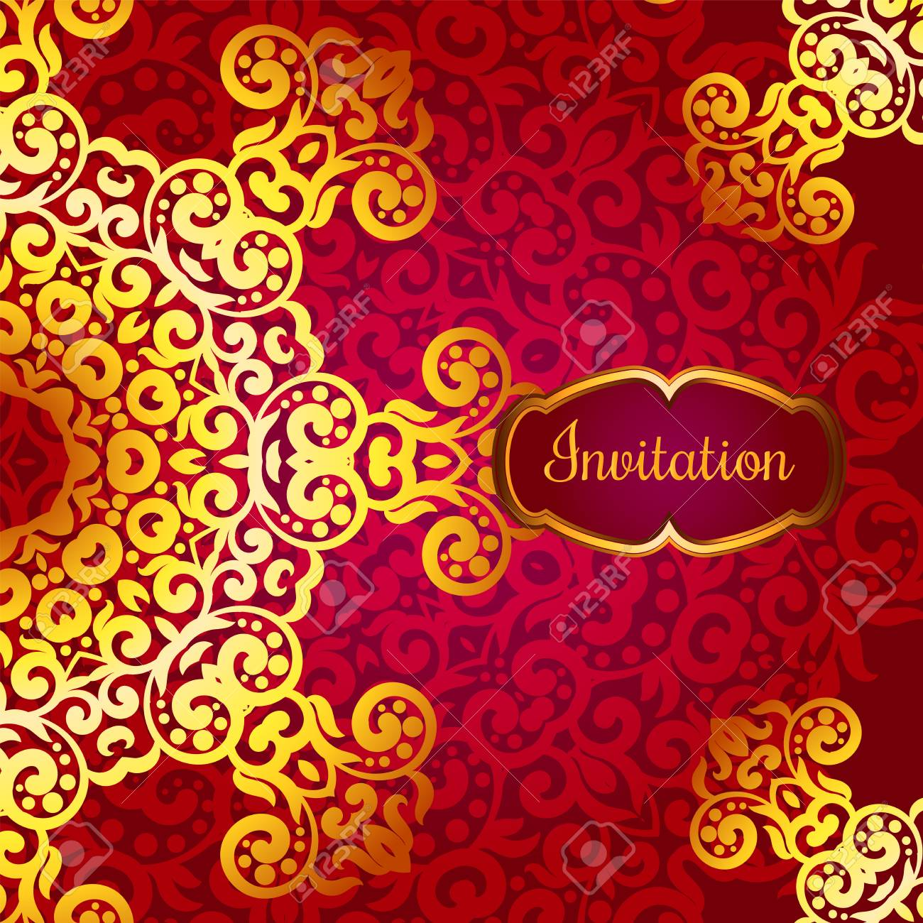 Rich Gold Invitation Card In The Indian Style Bohemian Cards